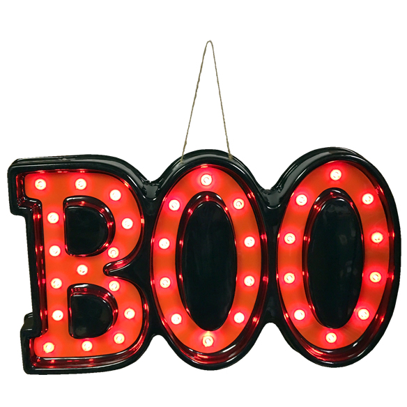 20 Inch BOO Lighted Halloween Decoration 35 Mini Orange Lights