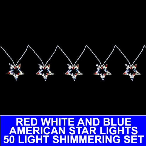 5 Patriotic Red White And Blue Shimmering Star Light Set