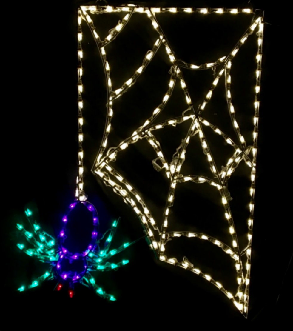 Scary Spider Hanging from Web LED Lighted Outdoor Halloween Decoration