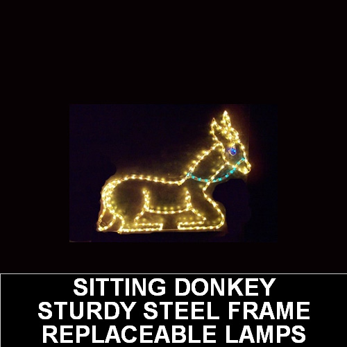 Donkey Sitting LED Lighted Outdoor Lawn Decoration