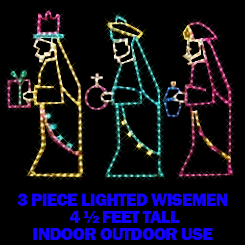 Three Wisemen Multi Color LED Lighted Outdoor Christmas Decoration