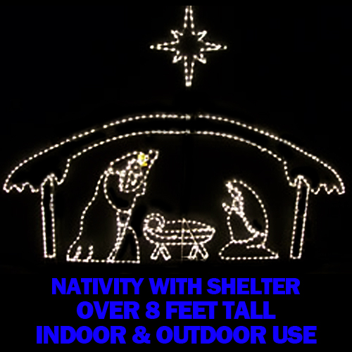 Nativity Manger with 3 Piece Holy Family Set plus Star LED Lighted Christmas Decoration