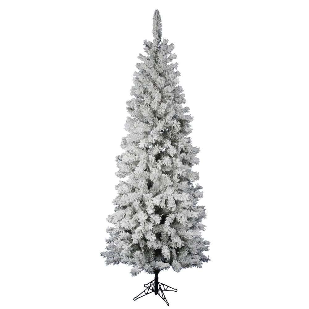 7.5 Foot Flocked Pacific Pencil Artificial Christmas Tree Unlit