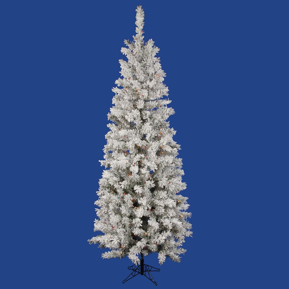 9.5 Foot Flocked Pacific Pencil Artificial Christmas Tree 400 LED Multi Lights
