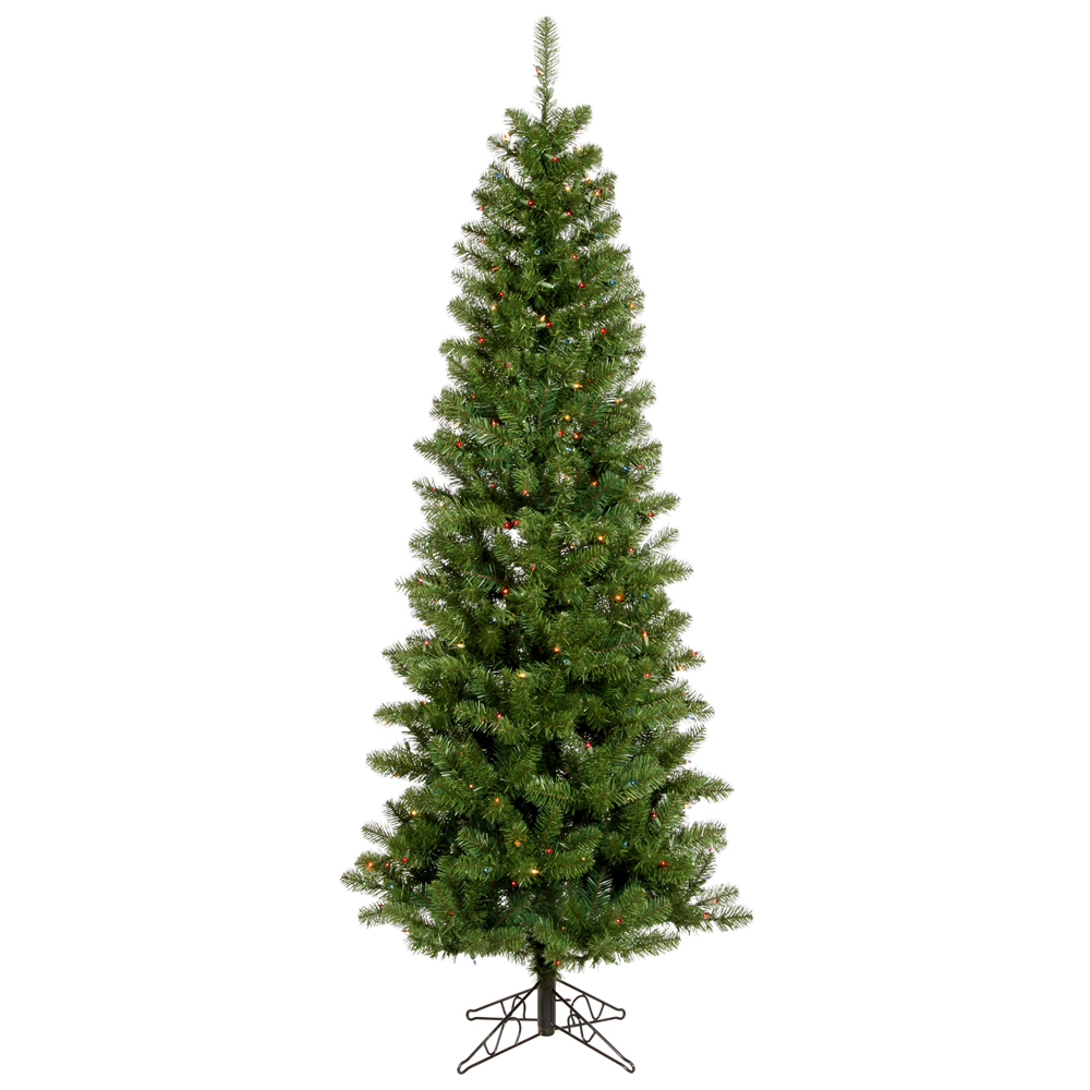 4.5 Foot Salem Pencil Pine Artificial Christmas Tree 150 DuraLit LED M5 Italian Multi Color Mini Lights