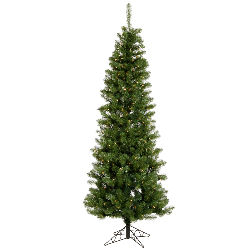 7.5 Foot Salem Pencil Pine Artificial Christmas Tree 300 DuraLit LED M5 Italian Warm White Mini Lights