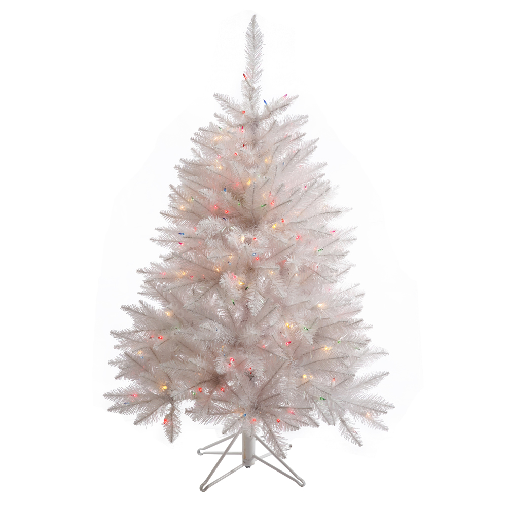 4.5 Foot Sparkle White Spruce Artificial Christmas Tree 200 DuraLit LED M5 Italian Frosted Multi Color Mini Lights