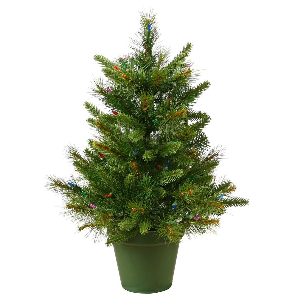2 Foot Cashmere Pine Artificial Christmas Tree 50 LED M5 Italian Warm White Lights