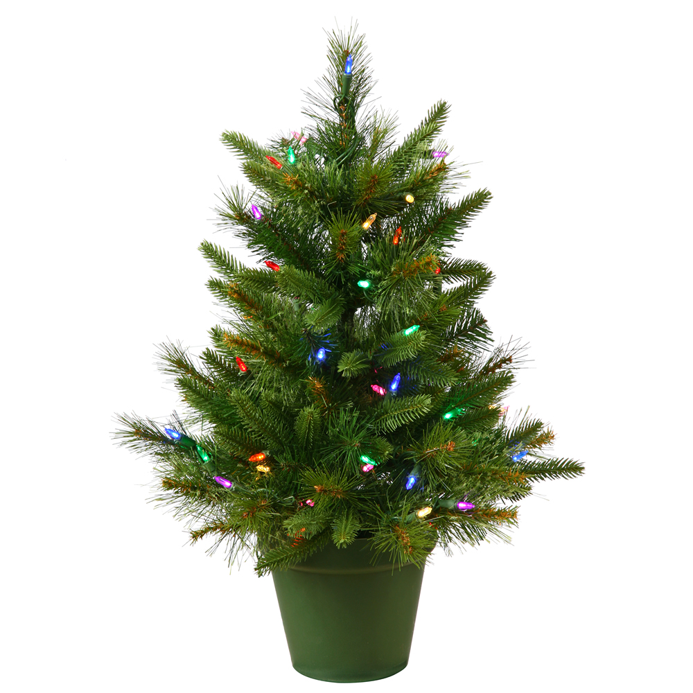 2 Foot Cashmere Pine Artificial Christmas Tree 50 LED M5 Italian Multi Color Lights