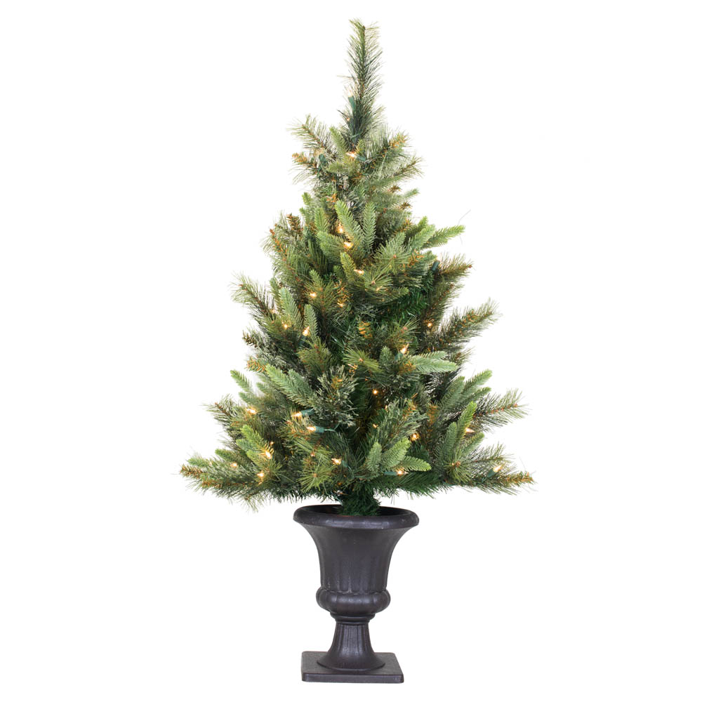 3.5 Foot Cashmere Pine Potted Artificial Christmas Tree 100 LED M5 Italian Warm White Lights