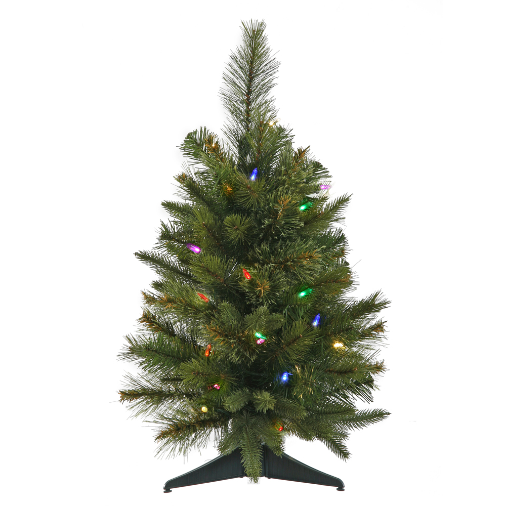 2 Foot Cashmere Artificial Christmas Tree 30 LED M5 Italian Multi Color Lights