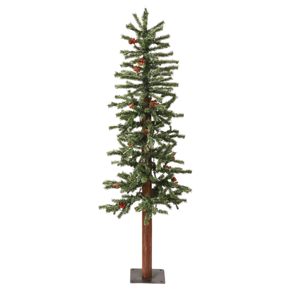 4 Foot Frosted Alpine Berry Artificial Christmas Tree 150 LED M5 Italian Warm White Mini Lights