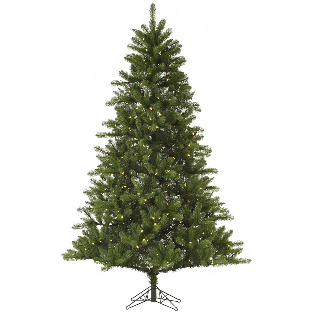 7 Foot Rockwell Spruce Artificial Christmas Tree 350 DuraLit Incandescent Clear Mini Lights