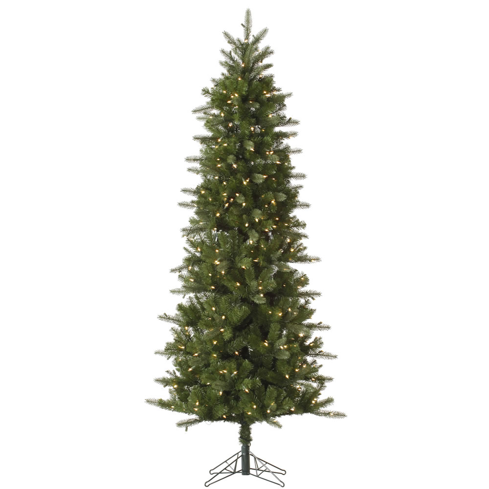 7.5 Foot Carolina Pencil Spruce Artificial Christmas Tree 450 DuraLit Incandescent Clear Mini Lights