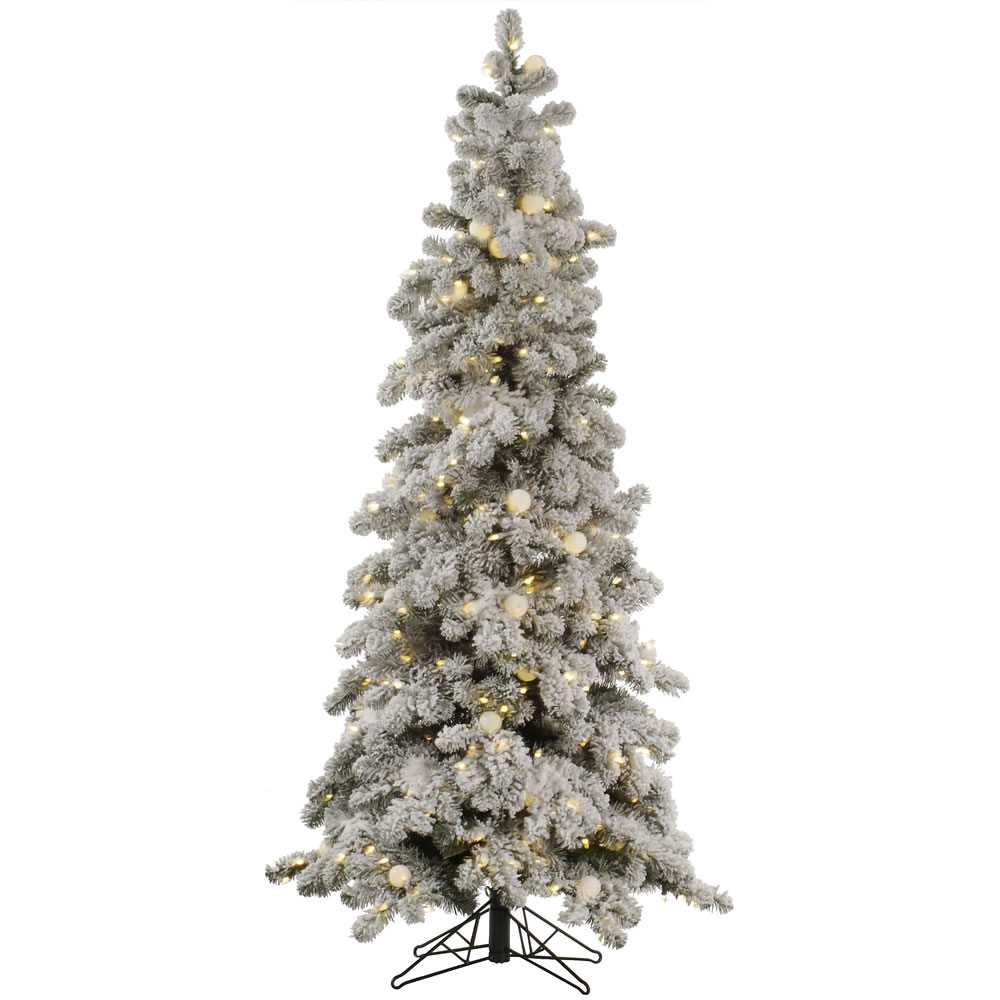 6 Foot Flocked Kodiak Artificial Christmas Tree 400 DuraLit LED M5 Italian Warm White Mini Lights with 50 G40 LED Frosted White Globe Lights