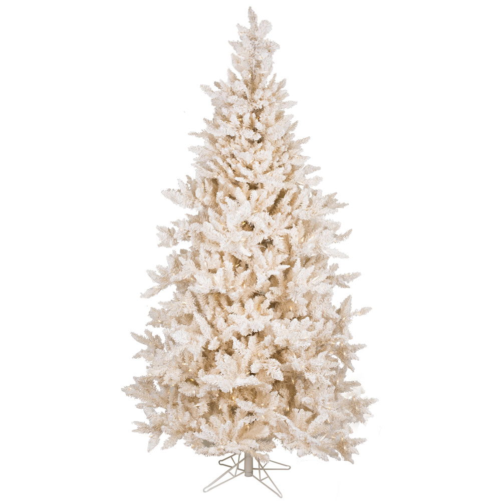 7.5 Foot Flocked Vintage Fir White Artificial Christmas Tree 700 LED M5 Italian Warm White Mini Lights