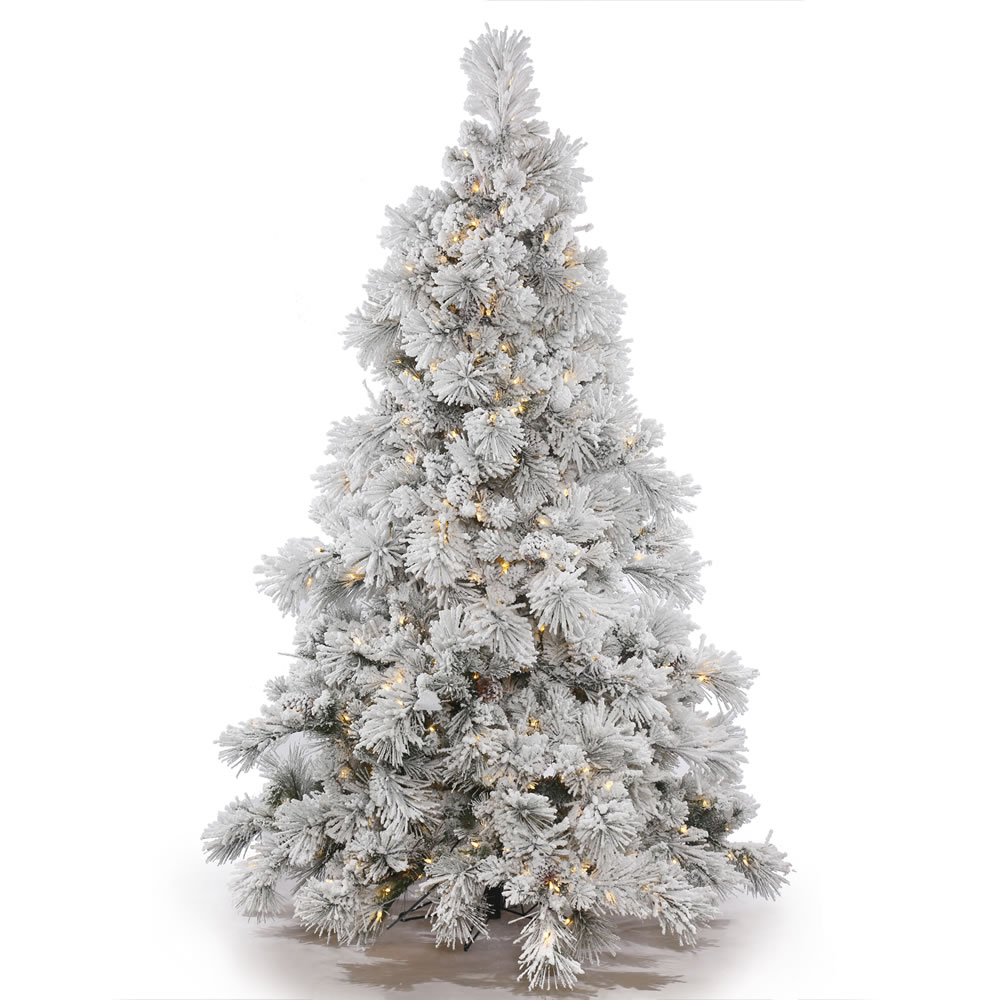 15 Foot Flocked Alberta Artificial Commercial Christmas Tree with Cones 3200 LED M5 Italian Warm White Mini Lights