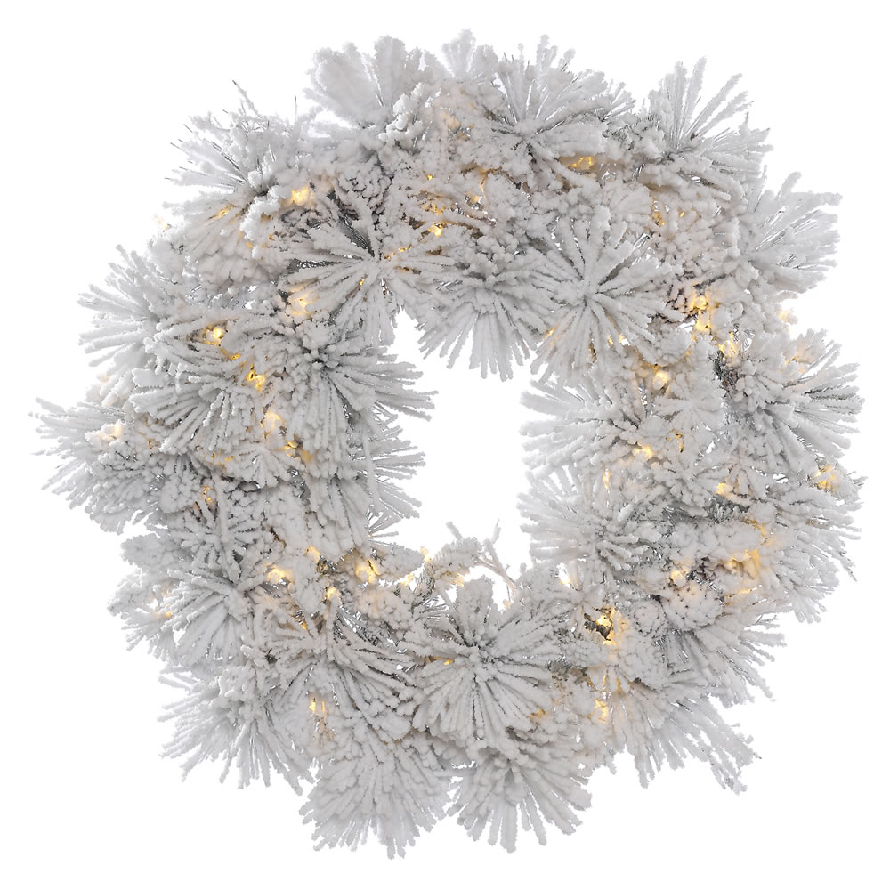36 Inch Flocked Alberta Wreath With Pine Cones 100 LED Warm White Lights
