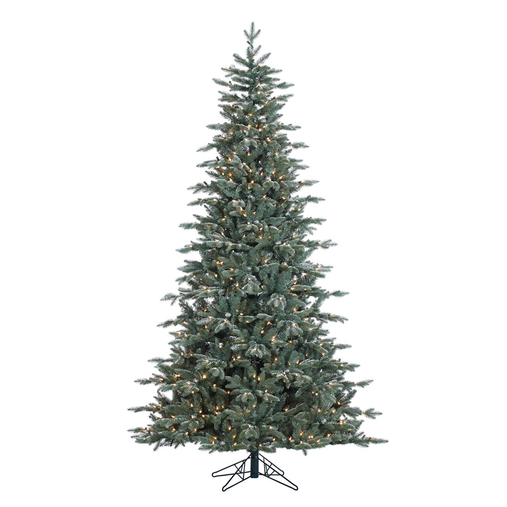 7.5 Foot Crystal Frost Balsam Fir Artificial Christmas Tree - 750 DuraLit Incandescent Clear Mini Lights - 56 Ornaments