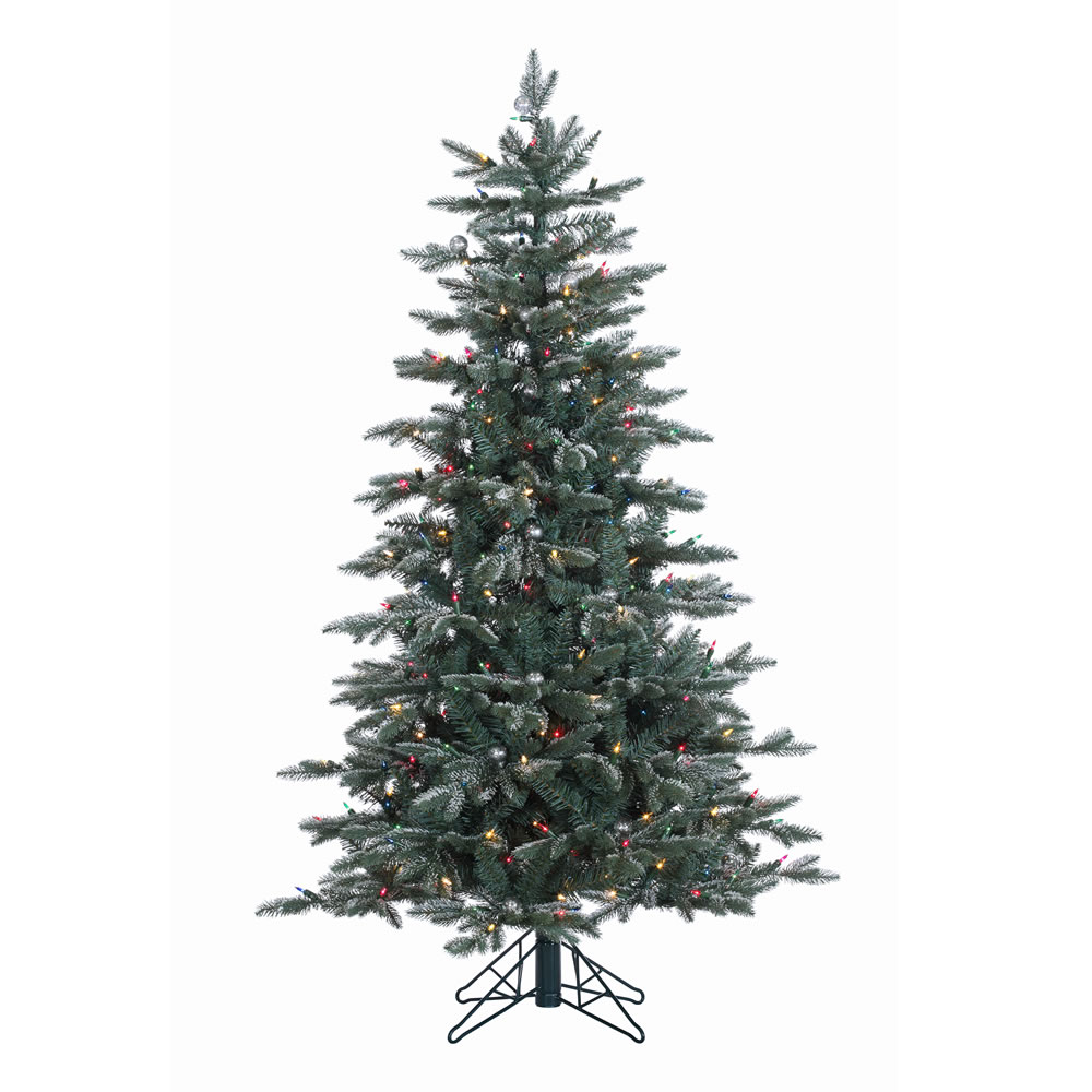 7.5 Foot Crystal Balsam Artificial Christmas Tree 750 DuraLit Multi Lights