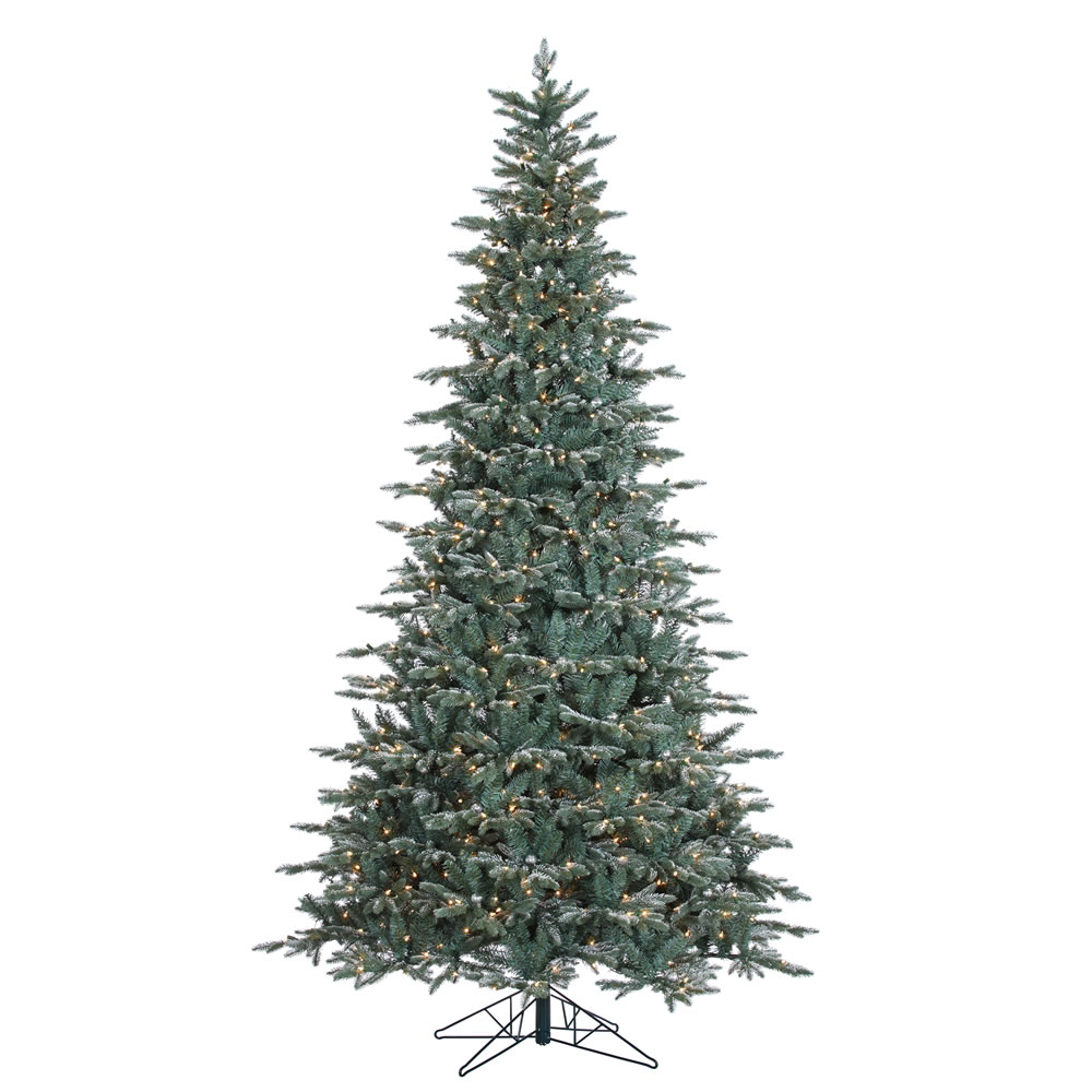 9 Foot Crystal Balsam Artificial Christmas Tree 1000 DuraLit Incandescent Clear Mini Lights 70 Ornaments