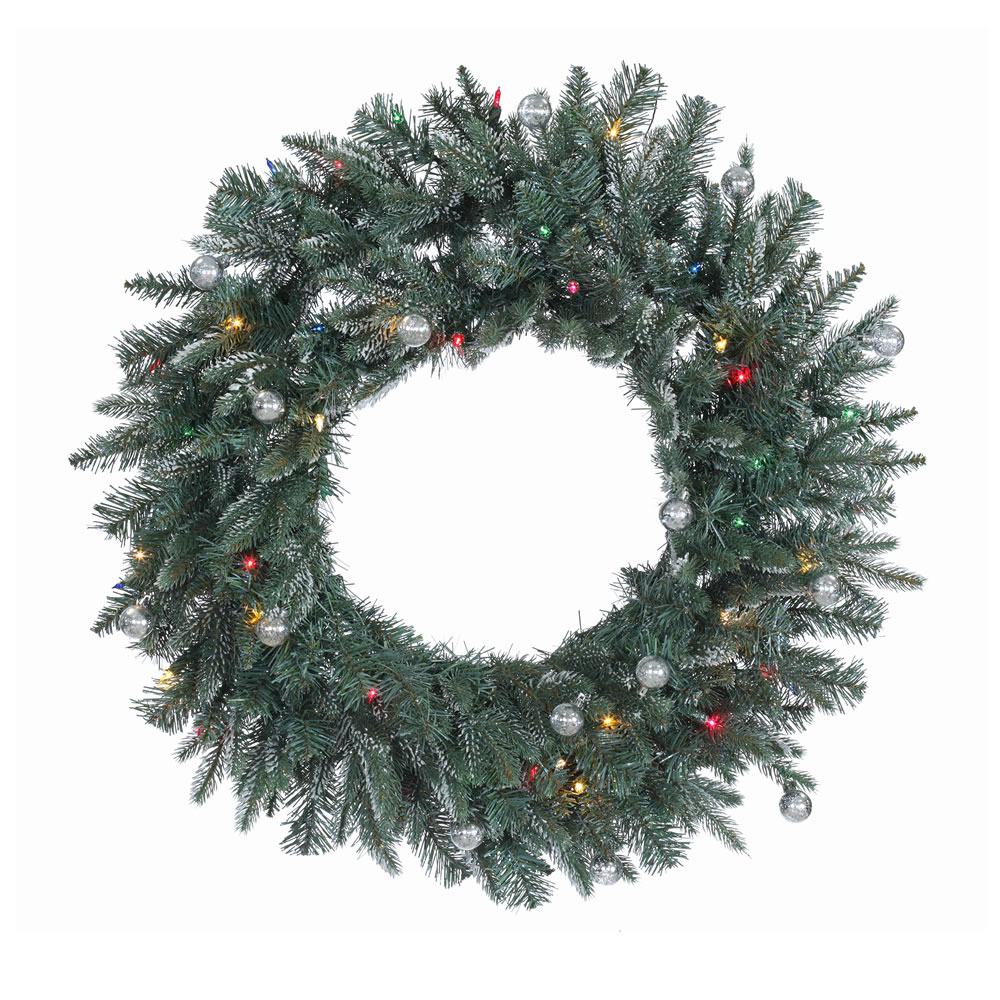 30 Inch Crystal Balsam Wreath 50 DuraLit Multi Lights