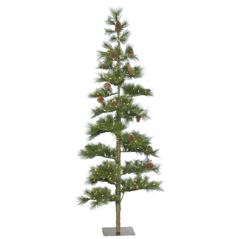 7.5 Foot Mountain Pine Artificial Christmas Tree 250 DuraLit Clear Lights