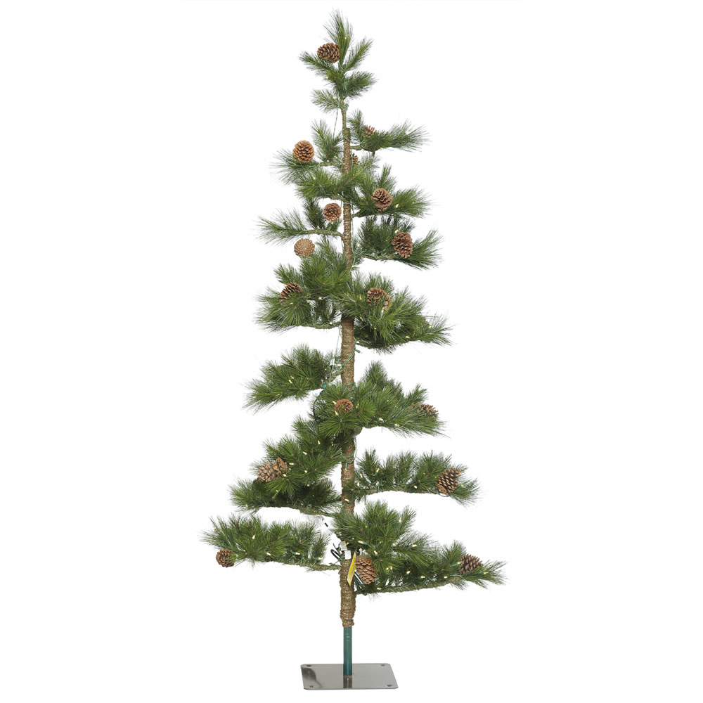 7.5 Foot Mountain Pine Artificial Christmas Tree 250 LED M5 Italian Warm White Mini Lights