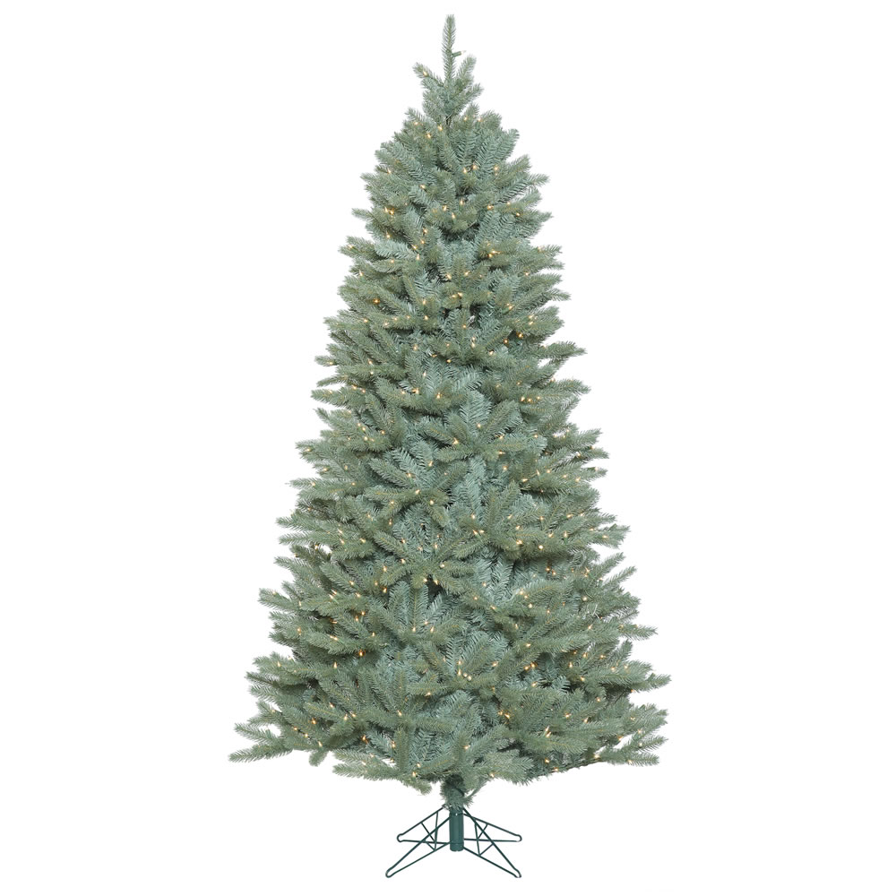 7.5 Foot Colorado Blue Spruce Artificial Christmas Tree 800 DuraLit Clear Lights