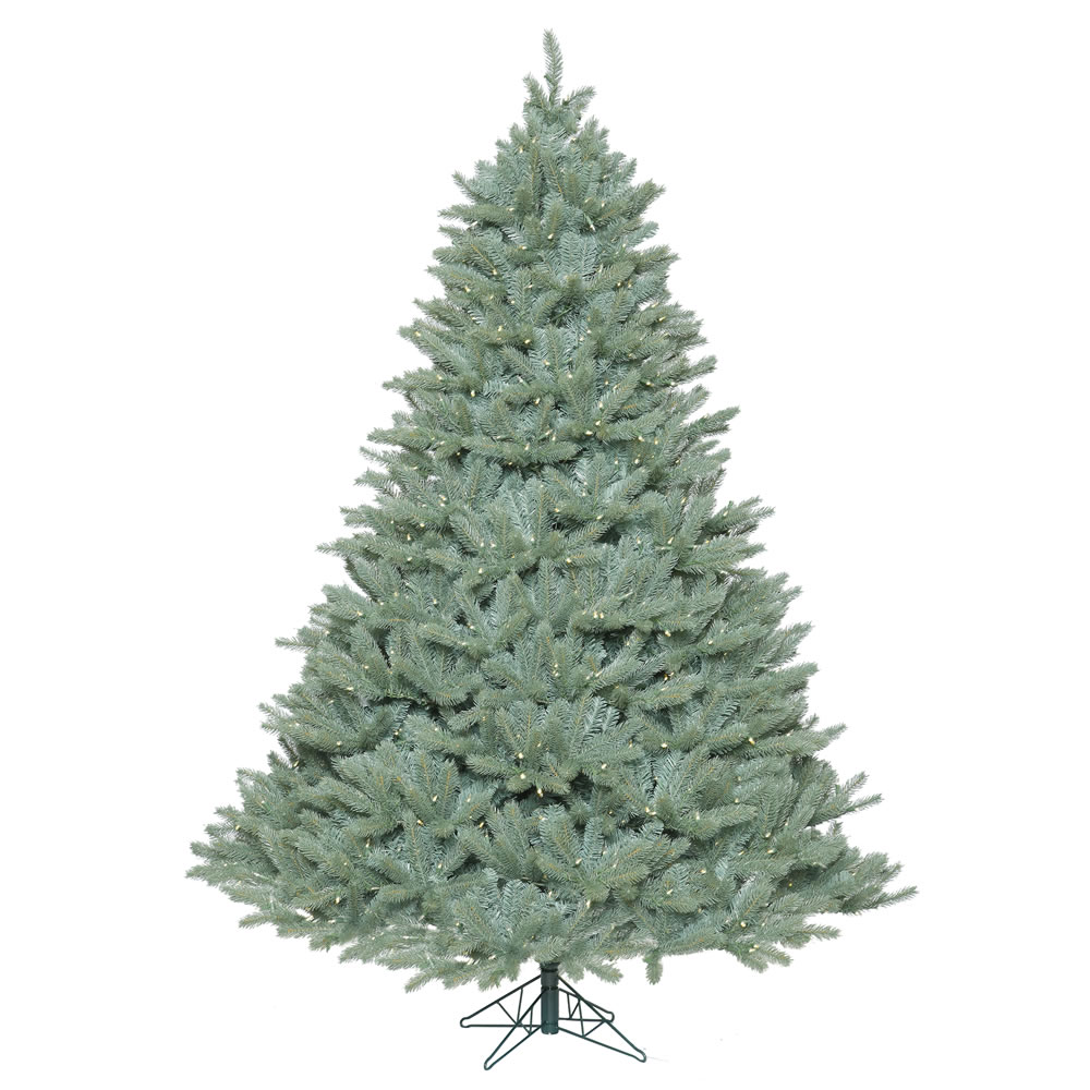 7.5 Foot Colorado Blue Spruce Artificial Christmas Tree 1250 LED M5 Italian Warm White Mini Lights