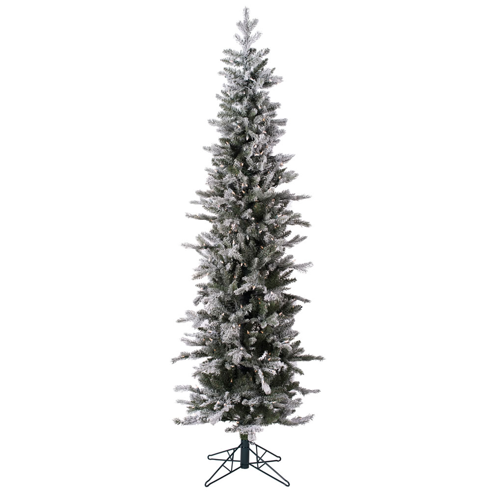 7 Foot Frosted Glitter Tannenbaum Pine Artificial Christmas Tree 300 LED M5 Italian Warm White Mini Lights