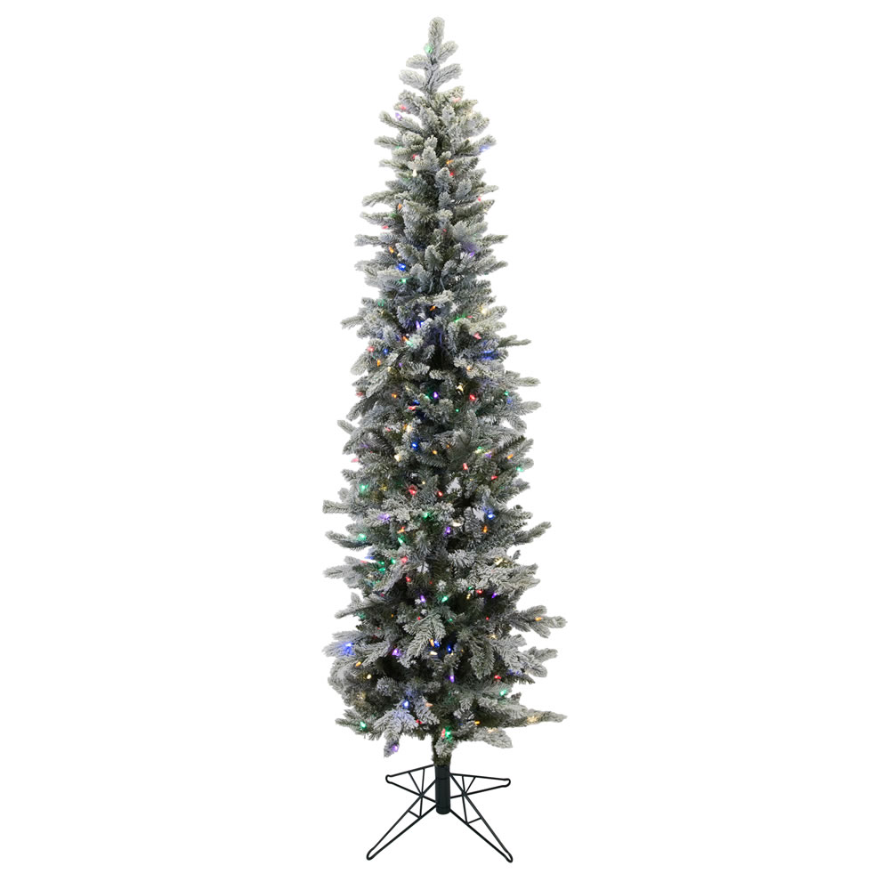7 Foot Frosted Glitter Tannenbaum Pine Artificial Christmas Tree 300 Multi Colored LED Lights