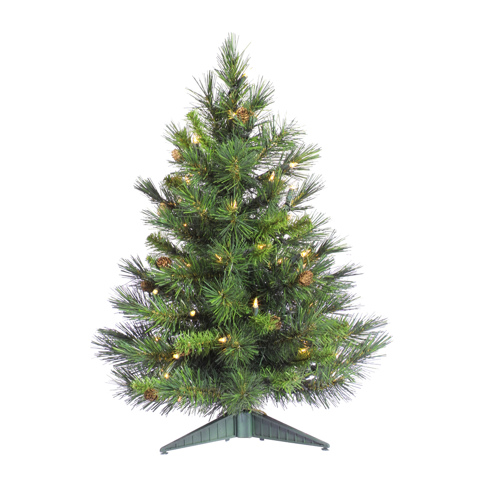 2 Foot Cheyenne Pine Artificial Christmas Tree 50 LED M5 Italian Warm White Lights