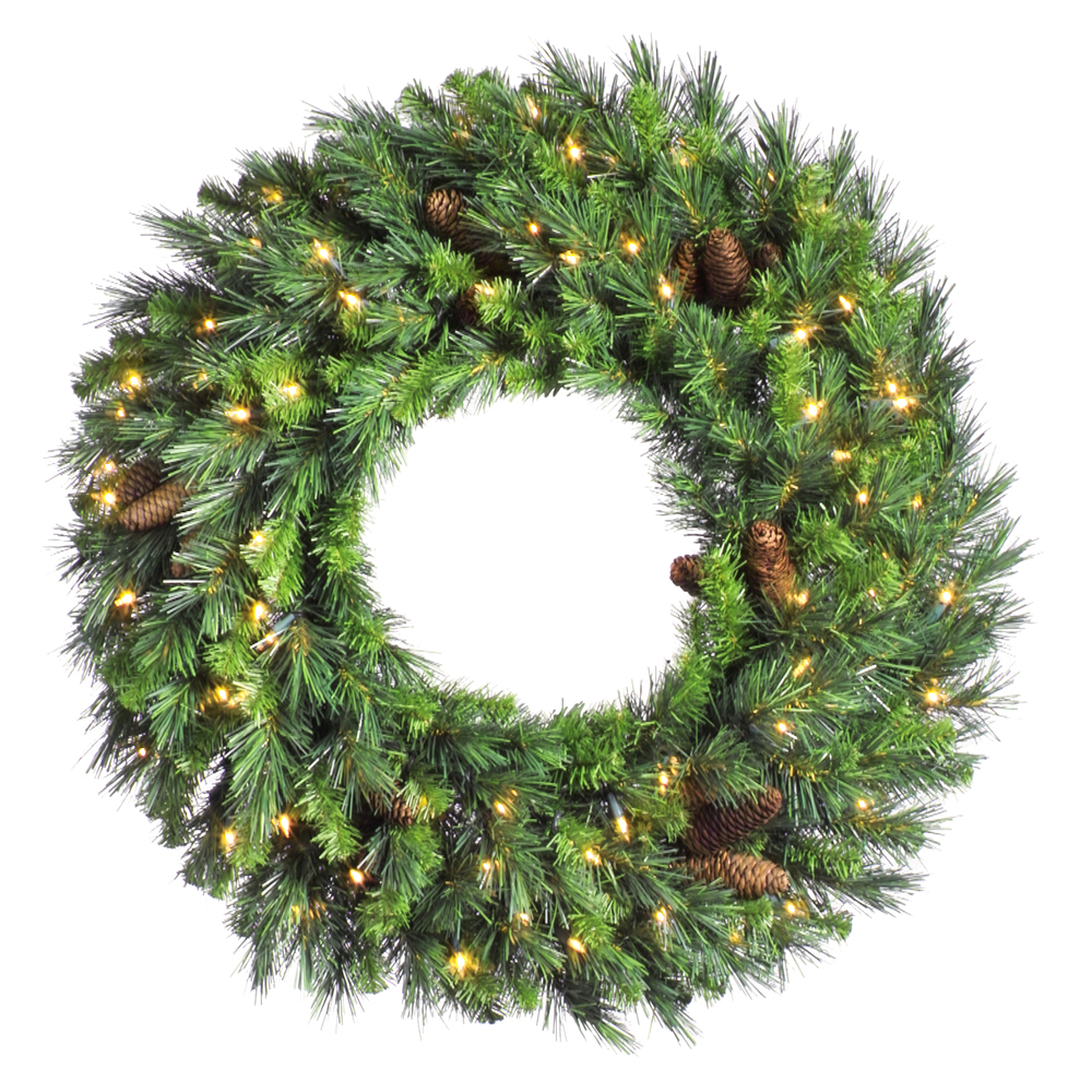 10 Foot Cheyenne Pine Artificial Christmas Wreath 600 DuraLit Incandescent Clear Mini Lights