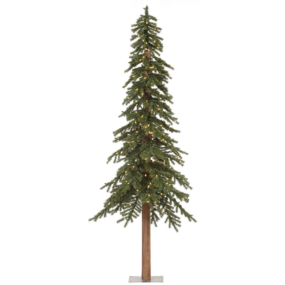 8 Foot Natural Alpine Artificial Christmas Tree 400 Incandescent Clear Mini Lights