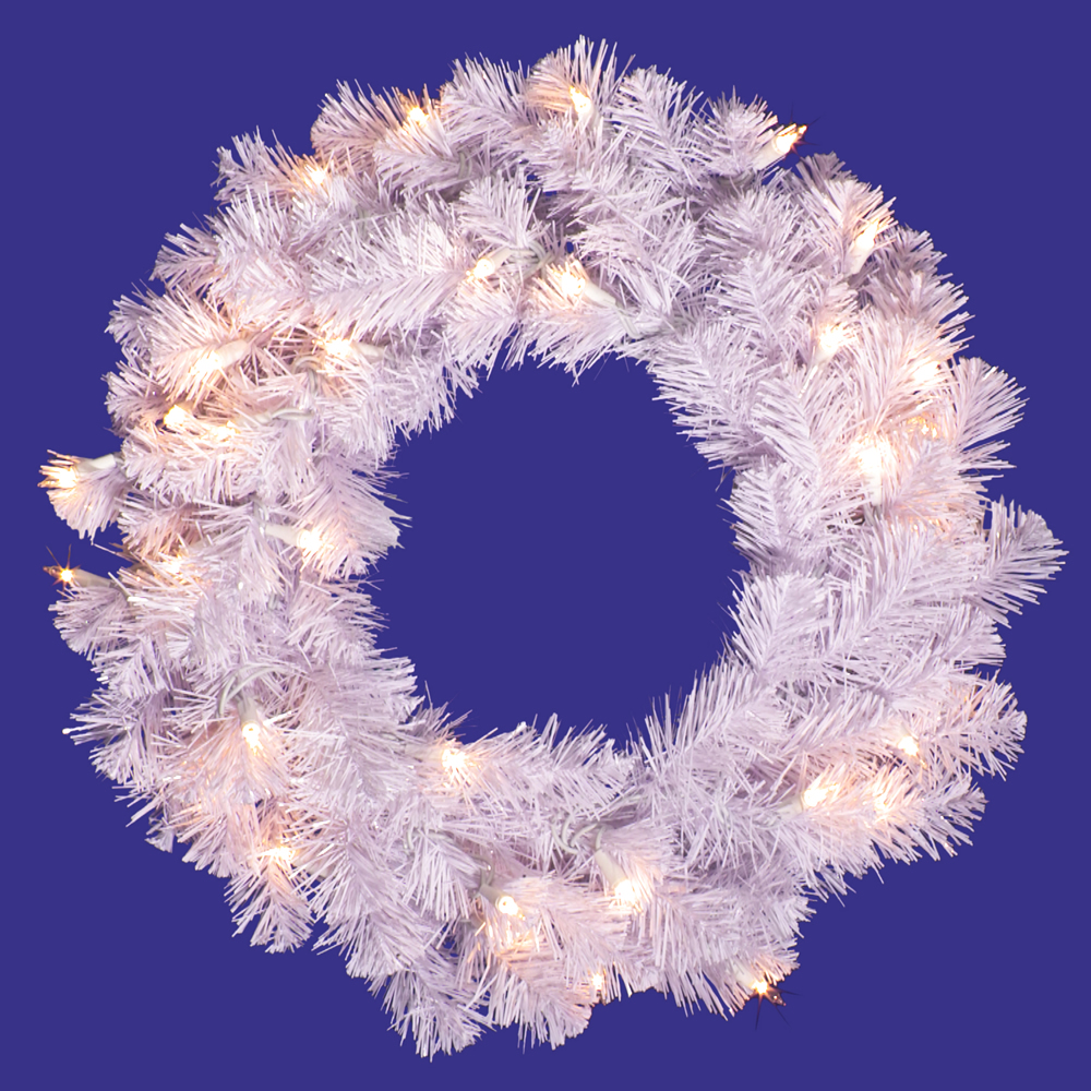20 Inch Crystal White Wreath 50 LED Warm White Lights