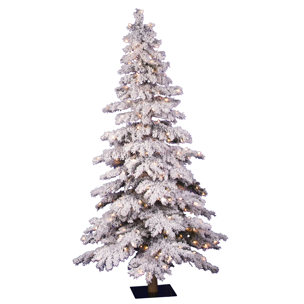5 Foot Flocked Spruce Artificial Christmas Tree 250 DuraLit Clear Lights