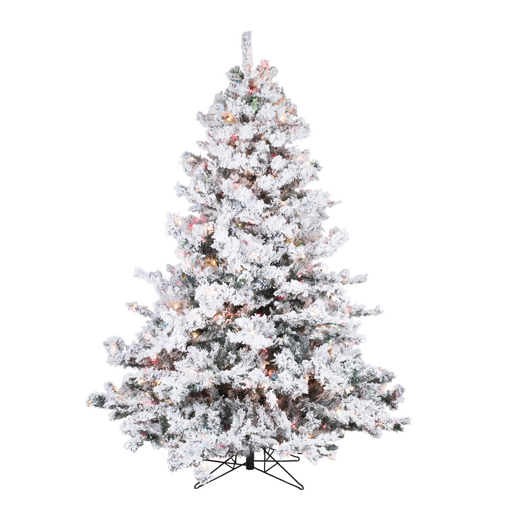4.5 Foot Flocked Alaskan Artificial Christmas Tree 300 LED Multi Lights