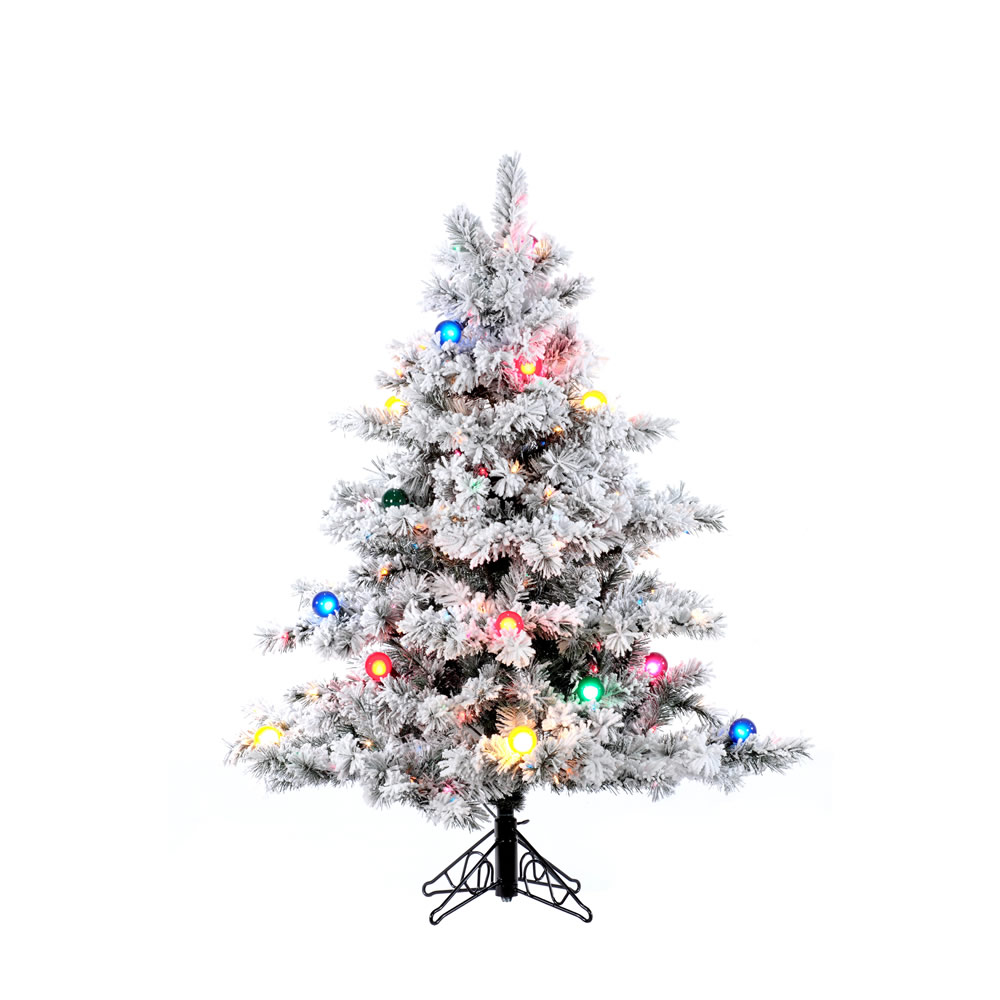 4.5 Foot Flocked Alaskan Pine Artificial Christmas Tree 200 DuraLit Multi Lights With G50 Multi Lights