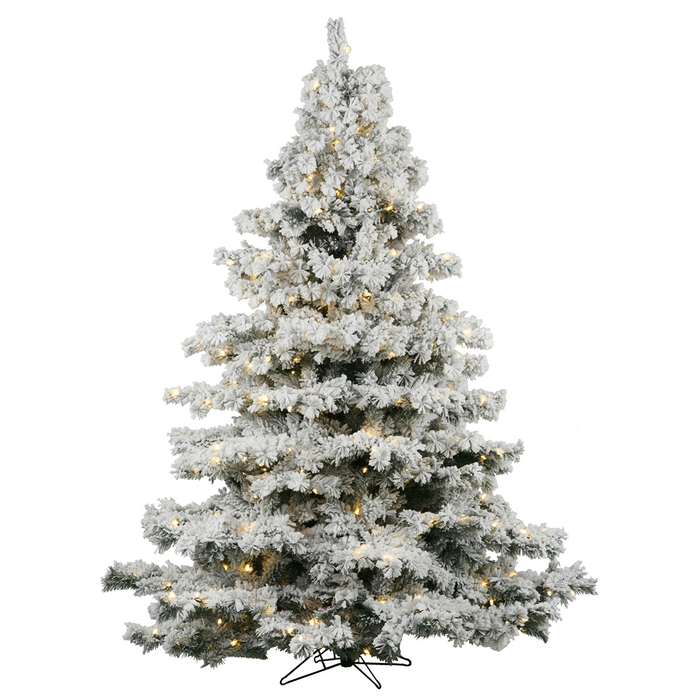 6.5 Foot Flocked Alaskan Artificial Christmas Tree 600 LED Warm White Lights