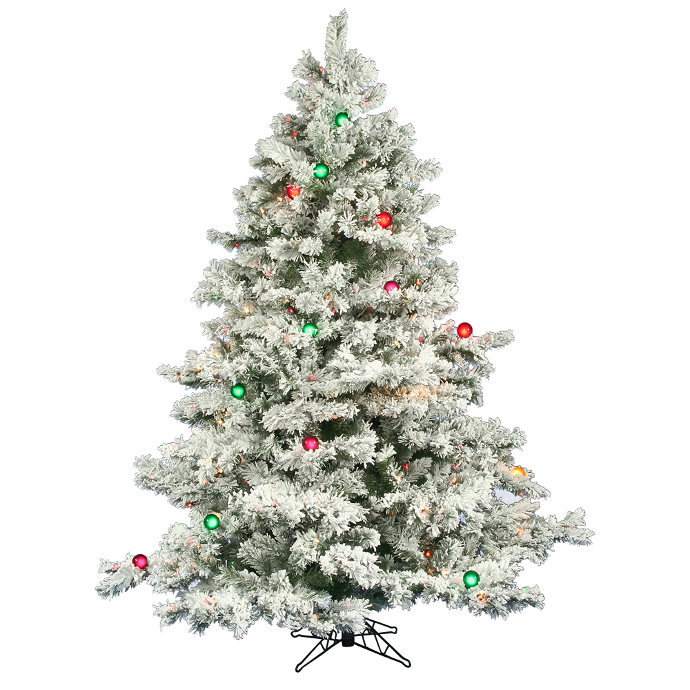 7.5 Foot Flocked Alaskan Artificial Christmas Tree 800 DuraLit Incandescent Mini Multi Color 45 G50 Multi Color Lights