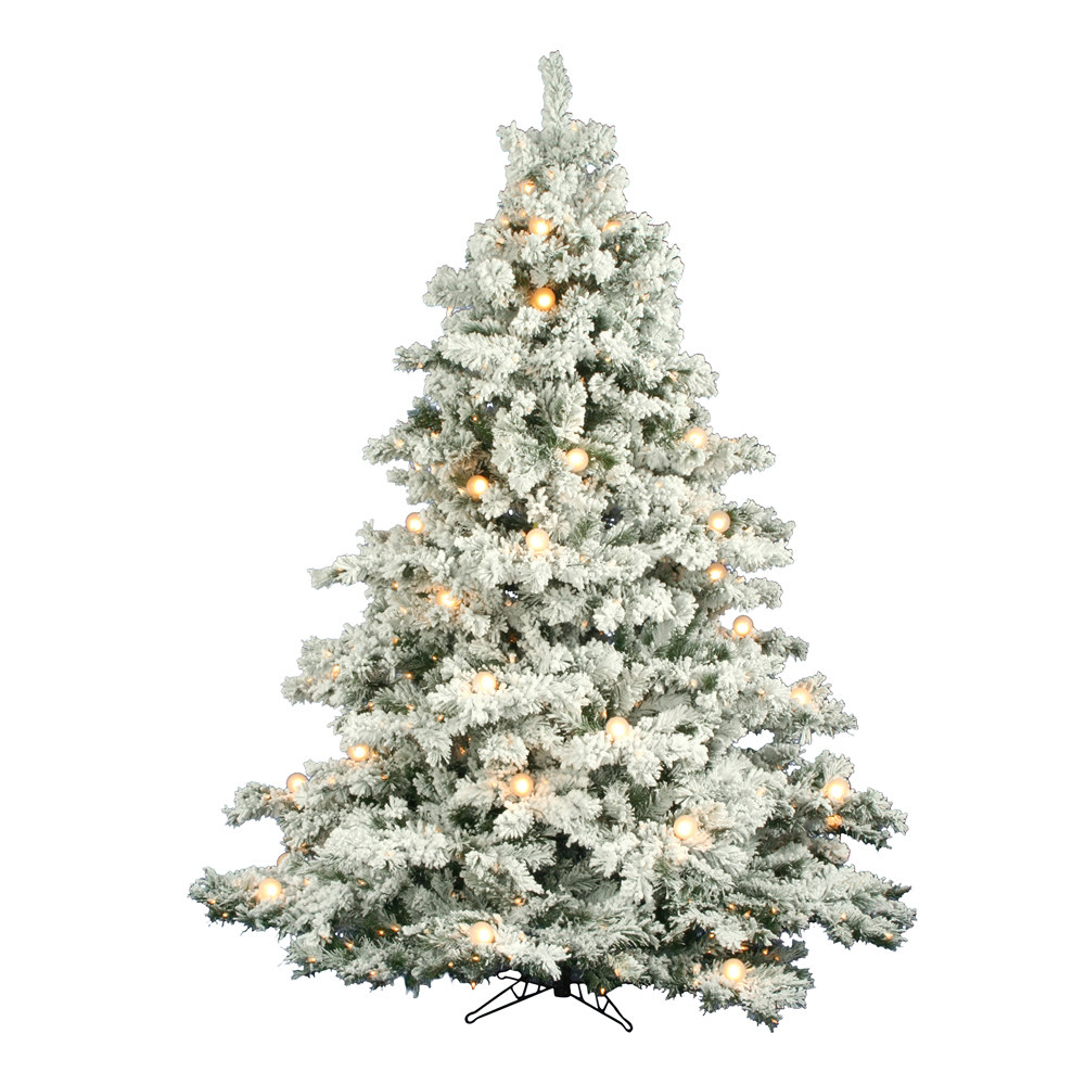 14 Foot Flocked Alaskan Pine Artificial Christmas Tree 2500 DuraLit Incandescent Clear Mini Lights 155 G50 Globe Frosted White Lights