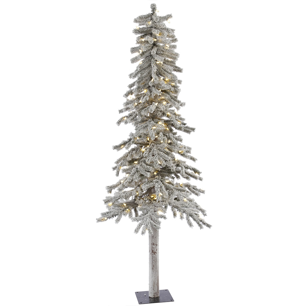 7 Foot Flocked Alpine Artificial Christmas Tree 300 LED M5 Italian Warm White Lights