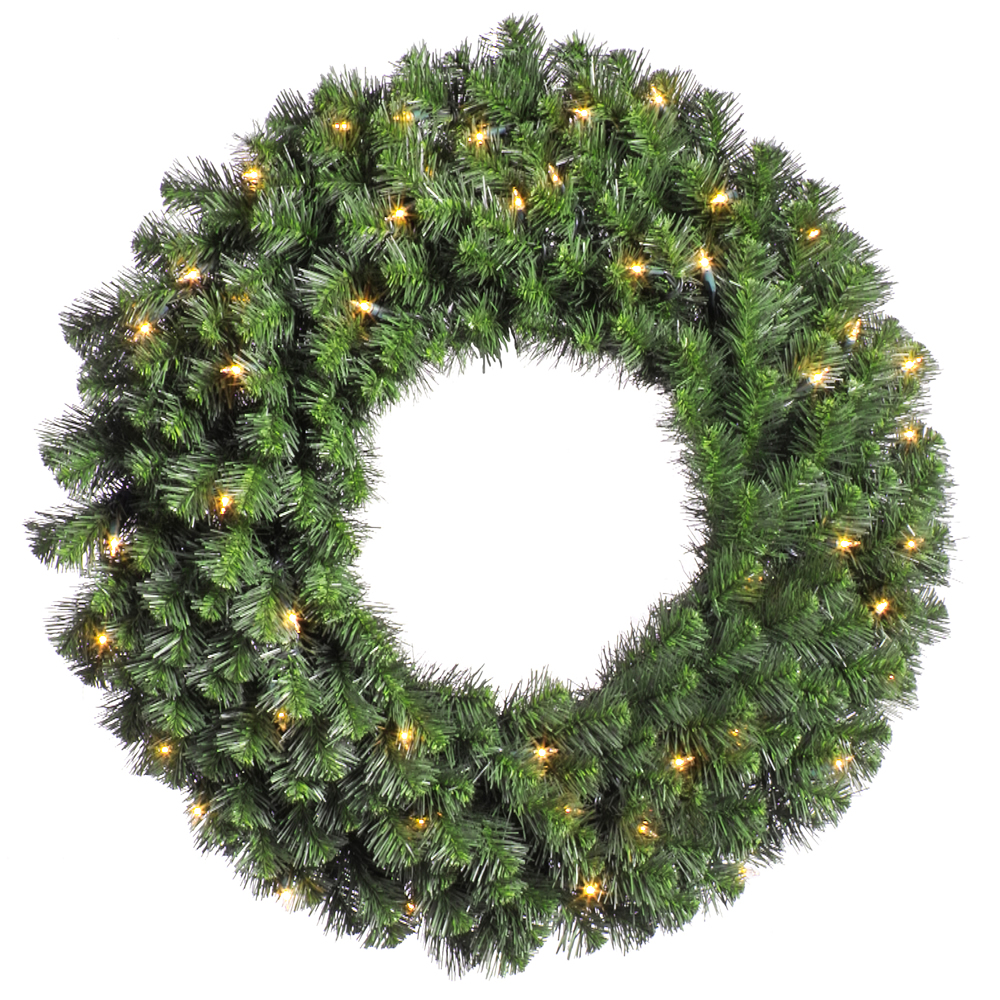24 Inch Douglas Wreath 50 DuraLit Clear Light