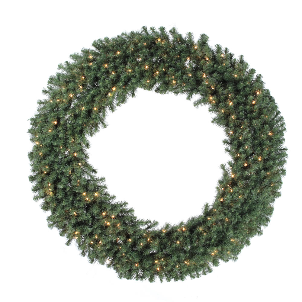 6 Foot Douglas Artificial Christmas Wreath 200 DuraLit Clear Lights
