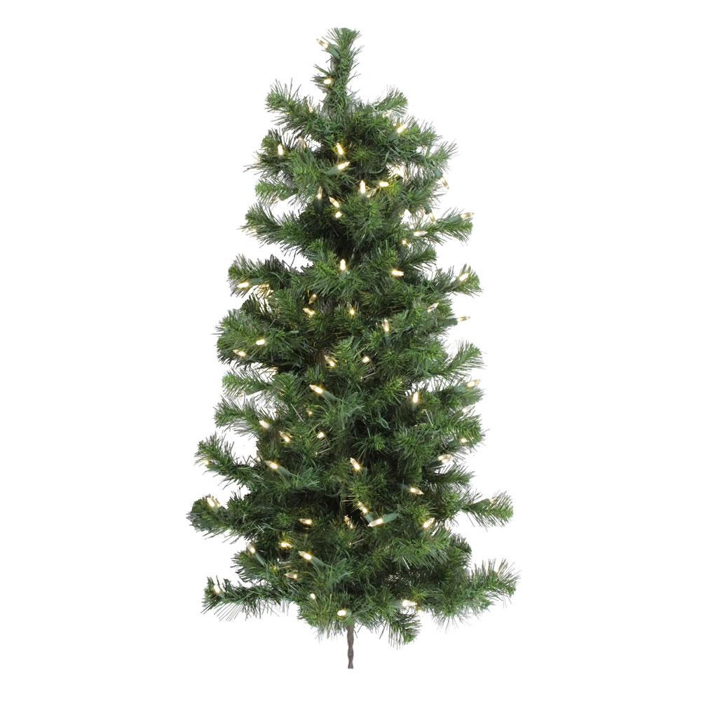 3 Foot Douglas Fir Artificial Christmas Wall Tree 100 LED Warm White Lights