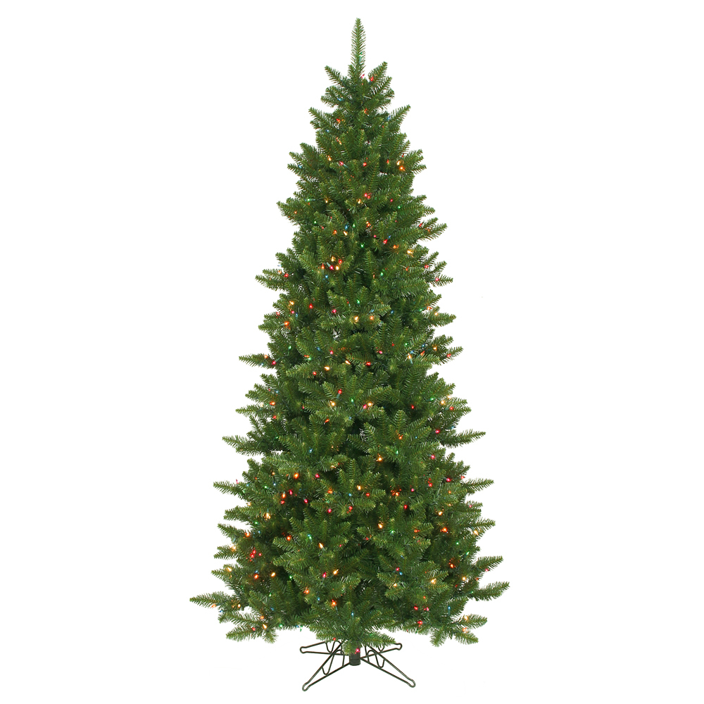 12 Foot Camdon Fir Slim Artificial Christmas Tree 1800 DuraLit Incandescent Multi Color Mini Lights