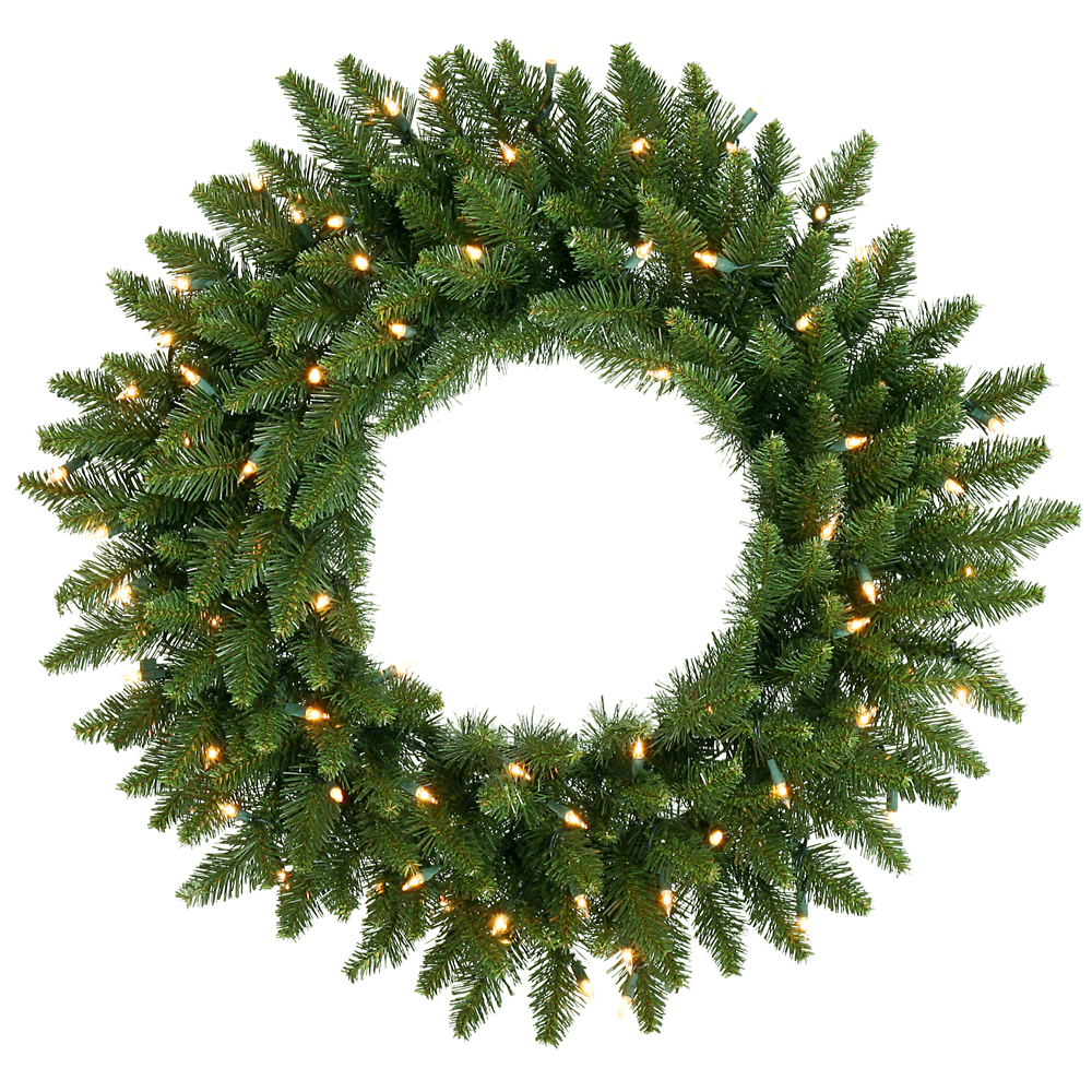24 Inch Camdon Fir Artificial Christmas Wreath 50 DuraLit Incandescent Clear Mini Lights