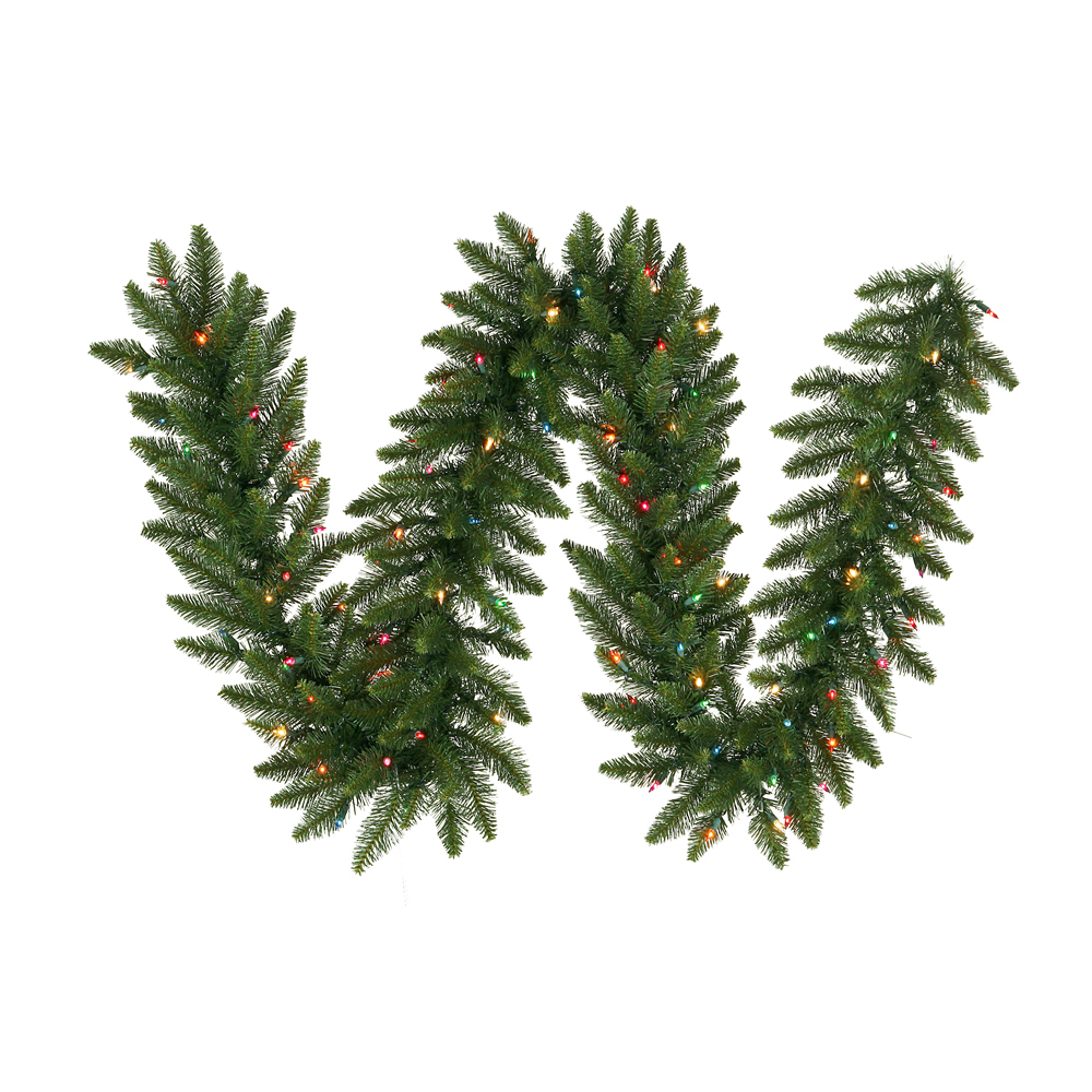 9 Foot Camdon Fir Artificial Christmas Garland 14 Inch Wide 100 LED M5 Italian Multi Color Mini Lights