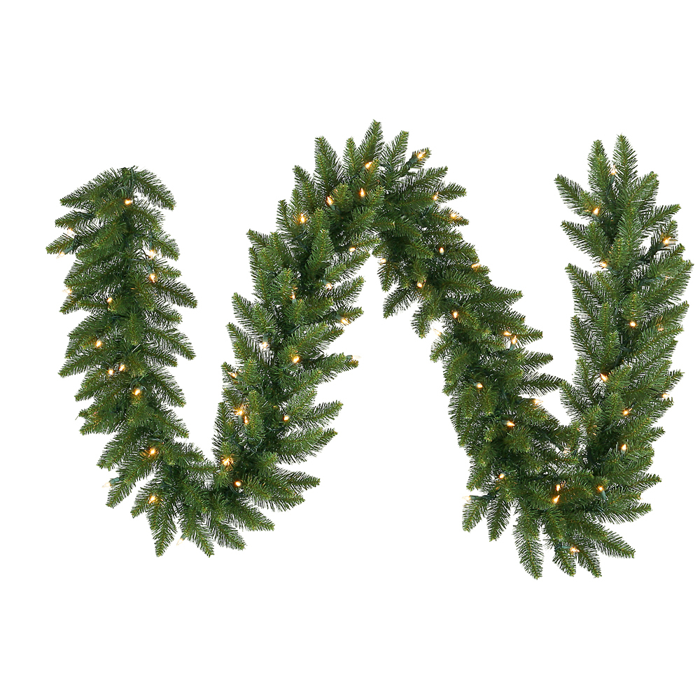 9 Foot Camdon Fir Artificial Christmas Garland 20 Inch Wide 150 LED M5 Italian Warm White Mini Lights